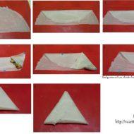 Pliage de feuille de brick en triangle