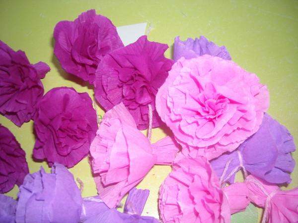 Fleur en papier pompon fleur de papier en soie suspendre - Pompon en papier crepon ...
