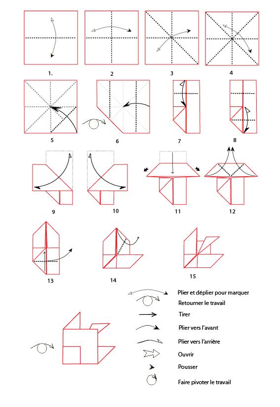 pliage origami poisson