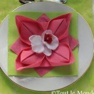 Pliage serviette en forme de fleur