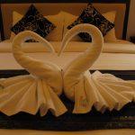 Pliage de serviette de bain en forme de cygne