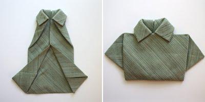 Pliage de serviette en forme de chemise