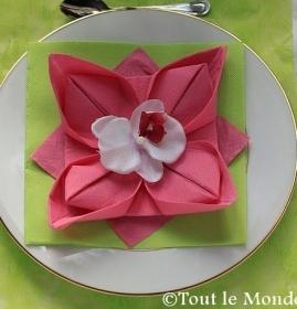 Pliage des serviettes en papier en forme de fleur
