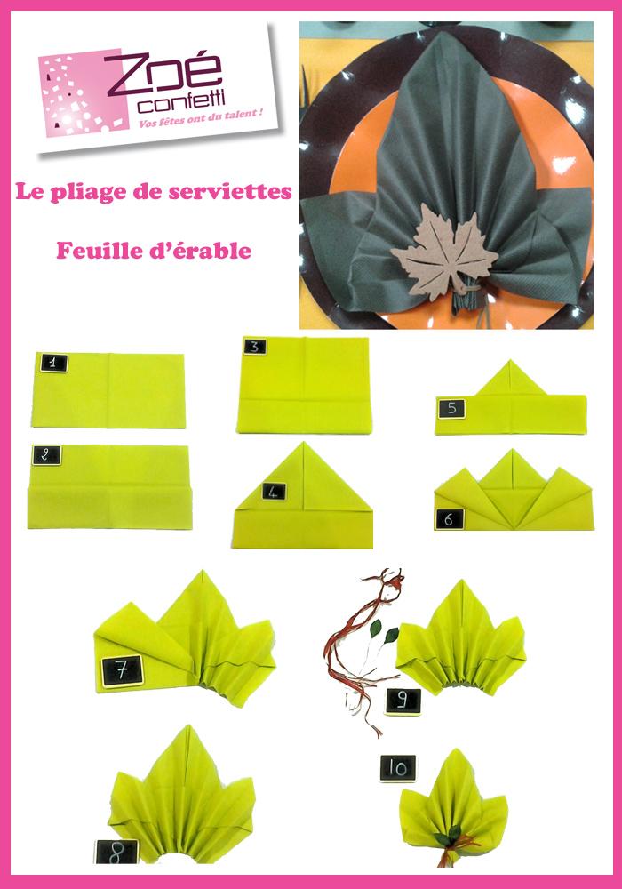 Pliage serviette feuille d automne