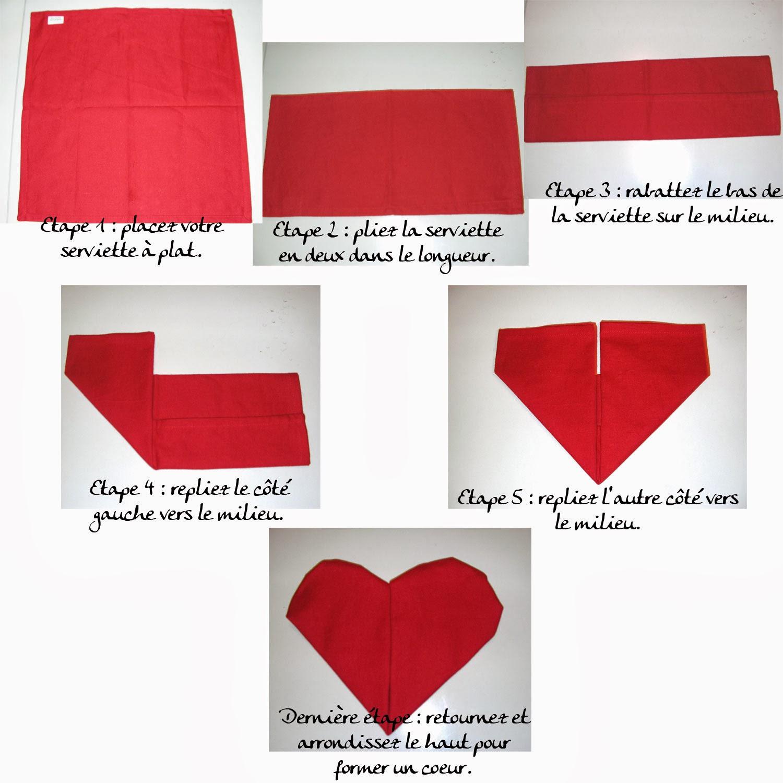 Pliage serviette saint valentin
